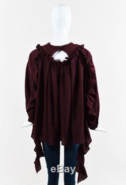 Renli Su NWOT Wine Red Wool Long Sleeve Ruffled & Pleated Top SZ XS