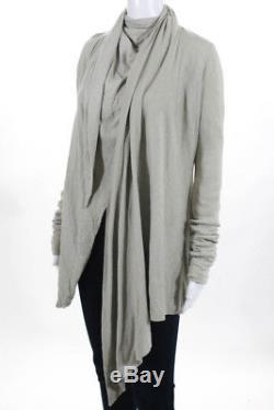Rick Owens Lilies Womens Top Size 8 Bone Wrap Style Long Sleeve Cotton