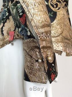 Roberto Cavalli Top Size Large Long Sleeve Button Up Floral Gold Buttons Pearls
