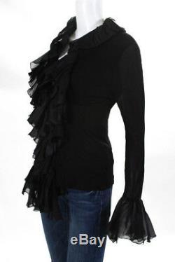 Roberto Cavalli Womens Long Sleeve Ruffle Blouse Top Black Size 42 US 6