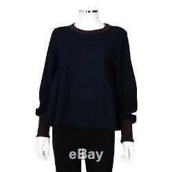 Roksanda Navy Blue Long Sleeve Flowy Silk Blend Top Size 12