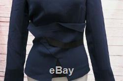 Roland Mouret Top Navy Stretch Crepe Size US 2 Long Sleeve Boatneck Blouse