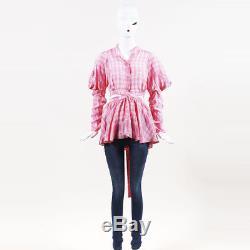 Rosie Assoulin NWT Pink & White Long Sleeve Plaid Wrap Top SZ M
