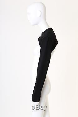 Runway GIVENCHY black crew neck cropped long sleeves sweater top XS