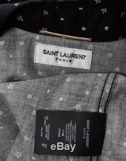 SAINT LAURENT Western Snap-Up Star Print Long Sleeve Black Blouse Top Shirt M
