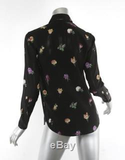 SAINT LAURENT Womens Black SILK Floral Button-Down Long-Sleeve Top Blouse 4-36