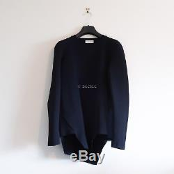 SCANLAN THEODORE long sleeve crepe knit dark navy blue jumper asymmetrical top S