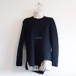 SCANLAN THEODORE long sleeve crepe knit dark navy blue jumper asymmetrical top S