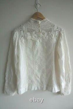 SEA NY Lace Crochet Cream Cotton Viscose Blouse Long Sleeve Top US 4 S M