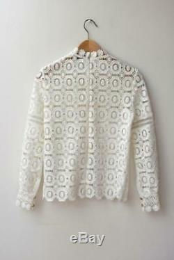 SELF-PORTRAIT White Crochet Lace Long Sleeve Blouse Top UK4/US0