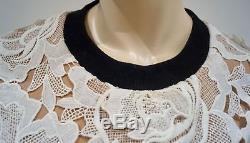 SELF-PORTRAIT Winter White Lace Beige & Black Long Sleeve Blouse Top UK8 US4