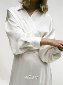 SHAINA MOTE Loire White Ivory Satin Acetate Long Sleeve Wrap Open Collar Top S