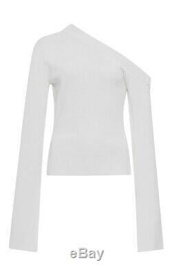 SOLACE LONDON NWT White VE Kelsey One Shoulder Long Sleeve Slit Cuff Top 4