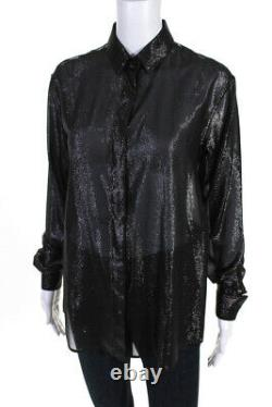 Saint Laurent Womens Silk Metallic Long Sleeve Button Down Top Black Size 34 EUR