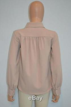 See By Chloe Nude Split Neck Collared Long Sleeve Blouse/Top withTies Size 36