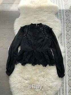 Self-Portrait Black Long Sleeve Lace Detail Top Size US 6 / UK 10 Retail $375