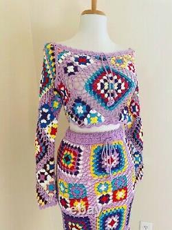 Sexy BoHo Granny Square Cropped Crochet Top & Skirt Set VTG Hippy Festival Dress