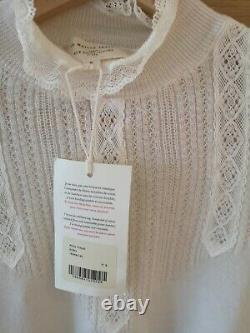 Sezane Tulio Ecru Ivory Fine Merino Wool Jumper Sweater Top S Uk8 10 Us4 6 Bnwt