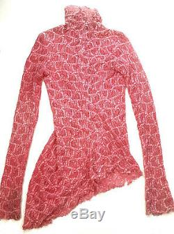 Sies Marjan Lace Willie Turtleneck Hot Pink Mesh Stretch Long Sleeve Top Small 2