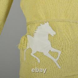 Small 1970s Novelty Horse Knit Ensemble Yellow Long Sleeve Top Skirt Set VTG