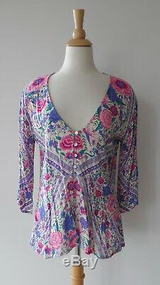 Spell & The Gypsy Babushka Pink Purple Floral Print Long Sleeve Blouse Top M