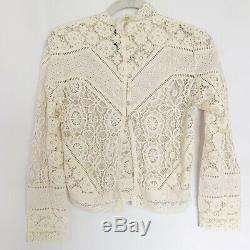 Spell & The Gypsy Collective Long Sleeve Lace Mock Neck Back Buttons Top Size SM