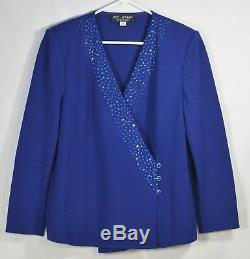 St. John Evening by Marie Gray Blue 2pc Suit Set 14 Long Sleeved Top & 16 Skirt