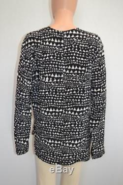 Stella McCartney Black/White Heart Print Silk Long Sleeve Top/Blouse Size 44