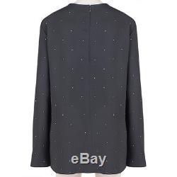 Stella McCartney Slate Grey Gold Studded Long Sleeve Crepe Top IT44 UK12