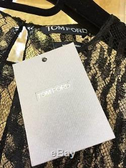 Stunning Tom Ford Black Leopard Lace Long Sleeve Top Bnwt 44