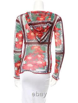 Stylish New Jean Paul Gaultier Hooded Floral Top In Iconic Mesh Fabric
