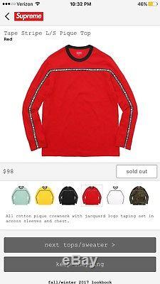 Supreme FW17 Tape Stripe L/S Pique Top Red Size Medium M long sleeve IN HAND