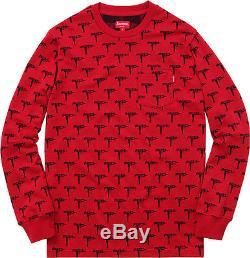 Supreme Jacquard Uzi Pocket Tee Red L/S Longsleeve Top Shirt BOX LOGO SIze Small
