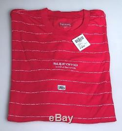 Supreme Long Sleeve Logo Stripe LS Top T Shirt Red Size XL Extra Large FW17