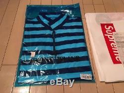 87720046d4 Supreme Nyc / Stone Island 1/4 Zip Long Sleeve Top White Blue Striped Sz L