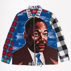 Supreme SS18 MLK Zip Up Flannel Shirt L/S top LS Tee box long sleeve Multi