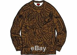 Supreme Waves L/S Longsleeve Black Box Logo Top LARGE Waffle Crew NEW In-Hand