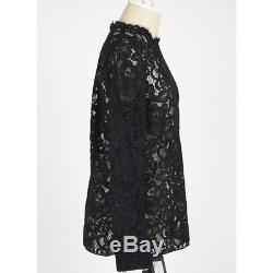 Sz 38 NEW $1190 SAINT LAURENT Black SHEER FLORAL LACE Long Sleeved BLOUSE TOP XS