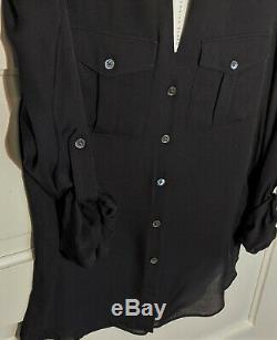 Sz 8 VERONICA BEARD Blouse Black Long Sleeve Top 100% SILK NWT $395