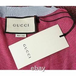 Sz XS NEW $1500 GUCCI RUNWAY Pink TIGER PRINT GG WALLPAPER CUBE Slim Fit TOP NWT
