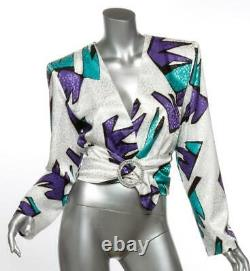 THE ATTICO Jeweled Buckled Belted V-Neck Long-Sleeve Top Blouse IT40 US4 S NEW
