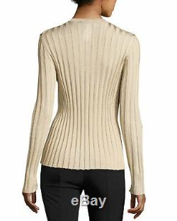 THE ROW Ninett ribbed knit long sleeve top sweater in light beige gold small s