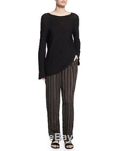 THE ROW Rarla Oversize Long-Sleeve Fine Knit Sweater Top, Black Small S