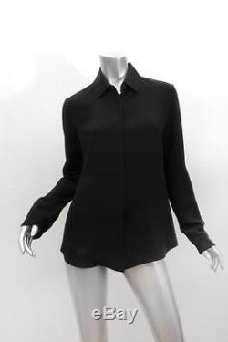 THE ROW Womens Black Long Sleeve Button Up Leather Trim Shirt Blouse Top 4