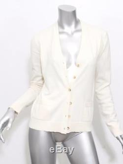 THE ROW Womens Cream Long Sleeve Cashmere Cardigan Sweater Top Blouse S