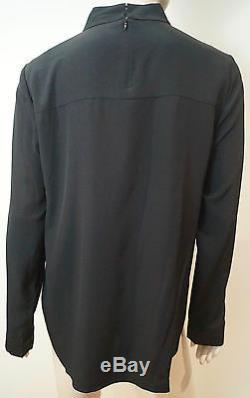 TIBI Black 100% Silk High Neckline Long Sleeve Formal Blouse Top UK10 BNWT