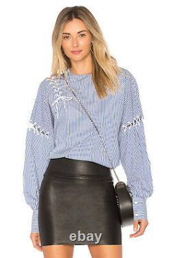 TIBI stripe long sleeve tie lace up top / shirt / blouse blue + white 2