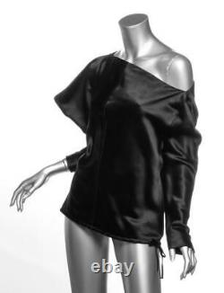 TOM FORD Womens Black Silk One-Shoulder Long Sleeve Blouse Top IT38 US2 XS