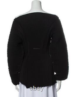 TOTEME Azores Oversized Plisse Crepe Top Black Long Sleeve Pleated Pleats XS