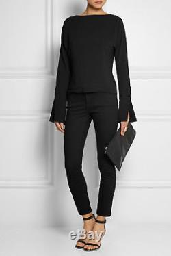 TOTEME NEW Black Split Bell Long Sleeve VE Slim Fit Como Crepe Blouse Top XS
